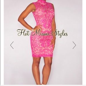 Fuchsia Embroidered Lace Dress-Size S